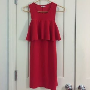 ZARA Red Ruffle Dress